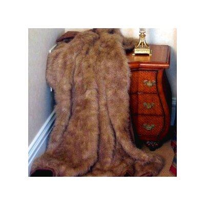Posh Pelts Raccoon Tail Faux Fur Acrylic Throw Blanket and Pillow Set