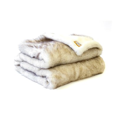 Posh Pelts Arctic Fox Faux Fur Throw Blanket with Short Pile Faux Fur Lining Snowy White