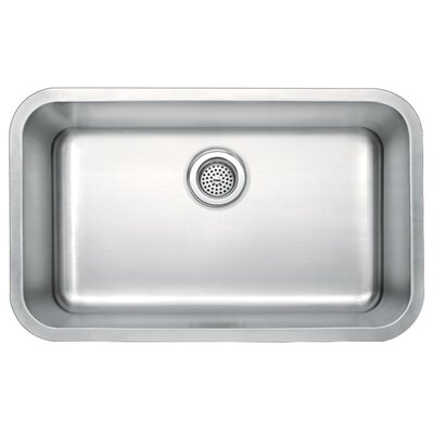 "Water Creation 30"" x 18"" Undermount Single Bowl Stainless Steel Kitchen Sink"