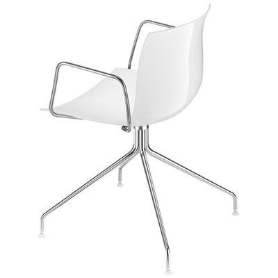 Arper Catifa 53 Polypropylene Armchair with 4-Way Swivel Trestle Base on Glides