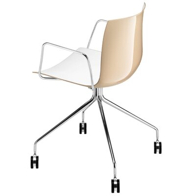 Arper Catifa 53 Polypropylene Two-Tone Armchair with 4-Way Trestle Base on Castors
