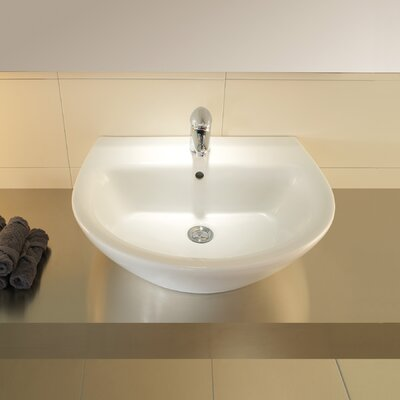 Bissonnet Universal Jazz 50 Porcelain Bathroom Sink Set with Overflow