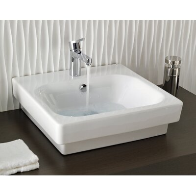 Bissonnet Universal Flex Ceramic Bathroom Sink in White