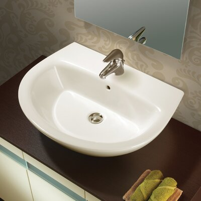 Bissonnet Universal Jazz 57 Porcelain Bathroom Sink Set with Overflow - 28030