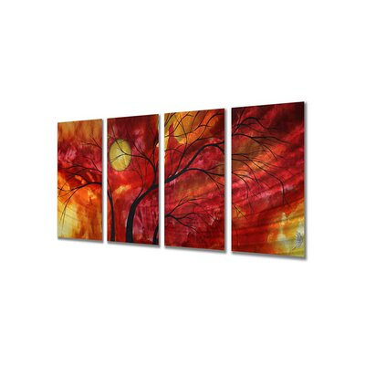 "All My Walls Burning Crimson by Megan Duncanson, Abstract Wall Art - 23.5"" x 48"""