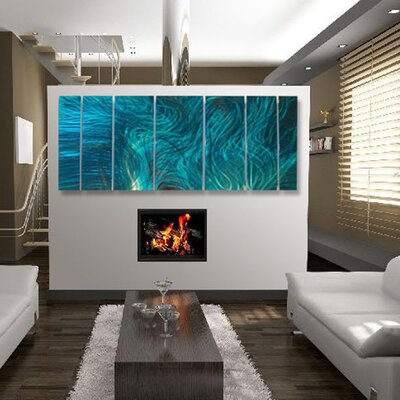 Abstract by Ash Carl Metal Wall Art in Turquoise - 23.5