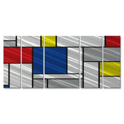 All My Walls Metallic Mondrian II Metal Wall Sculpture