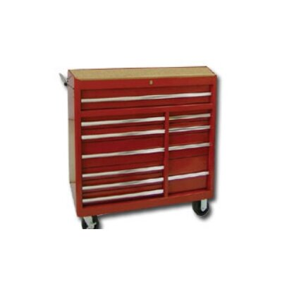 "International Tool Box 40""Red 11-Drawer Rlr Cabinet,Rlr Bearing"