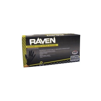 SAS Safety Sm Raven Blk Pwdr Free Nitrile Gloves