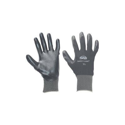 SAS Safety Gloves Nitrile Coated Lg Black 1Pr
