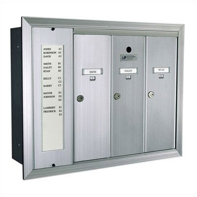 Florence Mailboxes 1255 Vertical Mailbox Unit With Directory and Surface Mount Collar