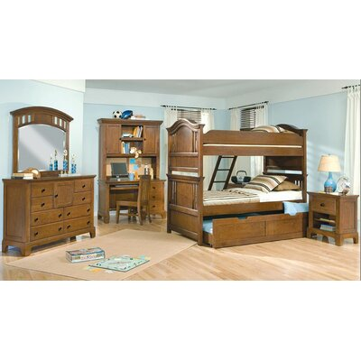 American Woodcrafters Bradford Full over Full Bunk Bed with Built-In Ladder and Storage
