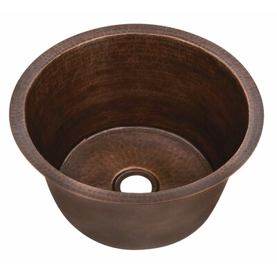 Belle Foret Small Round Copper Bar Sink with Flat Bottom