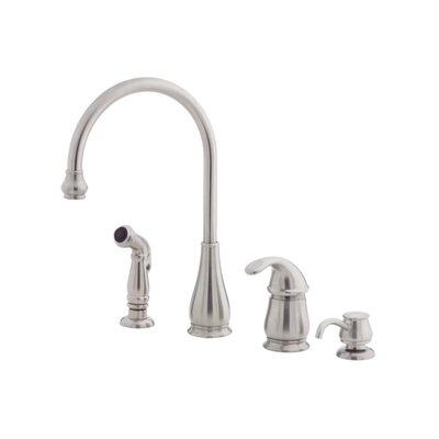 Price Pfister Treviso One Handle Widespread Kitchen Faucet with Side Spray and Soap Dispenser