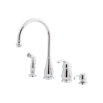 Price Pfister Treviso One Handle Widespread Kitchen Faucet with Soap or Lotion Dispenser and Side Spray