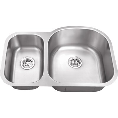 "Schon 34"" x 23"" Double Bowl 18 Gauge Kitchen Sink"