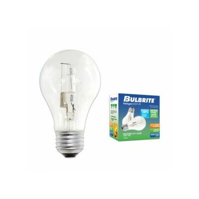 Bulbrite Industries 72W A19 Halogen Bulb in Clear (Pack of 2)
