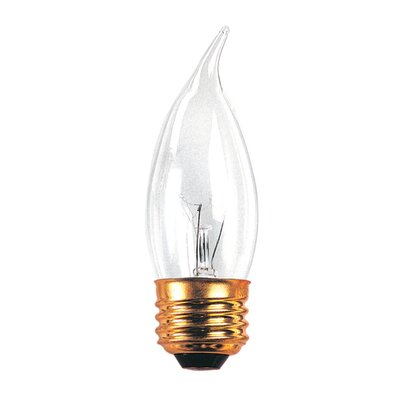 Bulbrite Industries 40W Incandescent Flame Tip Chandelier Bulb with E26 Base in Clear