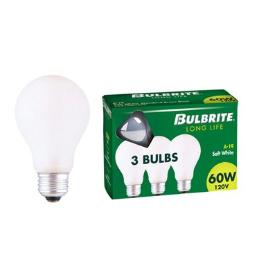 Bulbrite Industries 60W/A General Service A19 Incandescent Bulb in Soft White (Pack of 3)