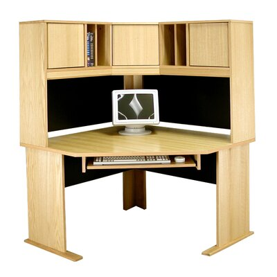 "Rush Furniture Modular Real Oak Wood Veneer 48"" W Panel Corner Desk Suite"