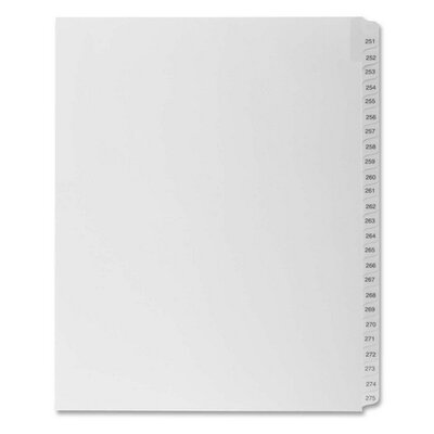 "Kleer-Fax, Inc. Index Dividers,""Exhibit 251-275"",Side Tabs,1/25 Cut,25/PK,WE"