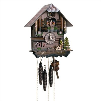 "Schneider 12"" Chalet Cuckoo Clock with Wood Chopper and Children"