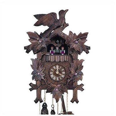 "Schneider 13"" Cuckoo Clock with Hand-Painted Flowers and Dancing Figurines"