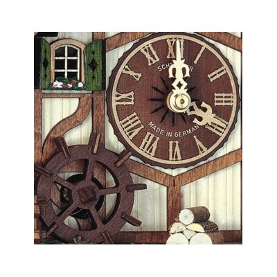 "Schneider 13.5"" Cuckoo Clock with Clock Peddler and Mill Wheel"
