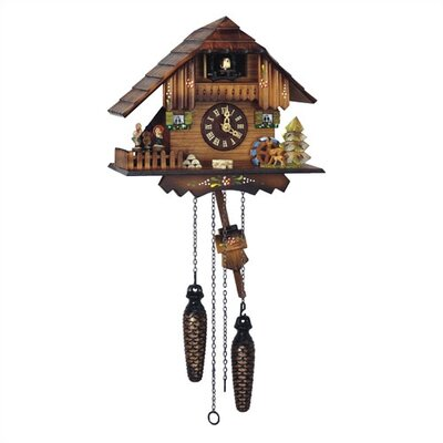 "Schneider 9"" Cuckoo Quartz Clock with Dancing Figurines"