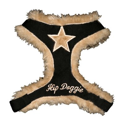 Hip Doggie Fur Star Dog Harness Vest in Black