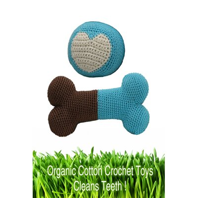 Organic Cotton Crochet Bone and Ball Dog Toy Set in Blue