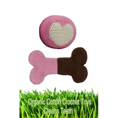 Organic Cotton Crochet Bone and Ball Dog Toy Set in Pink