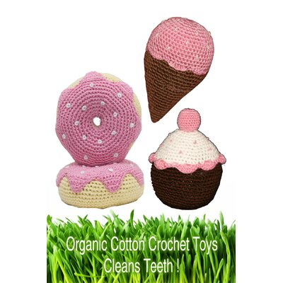 Organic Cotton Crochet Dessert Dog Toy Set in Pink