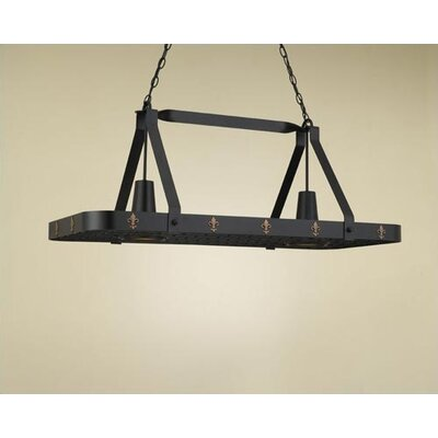 Hi-Lite Fleur de Lis Large Rectangular Pot Rack with 2 Lights