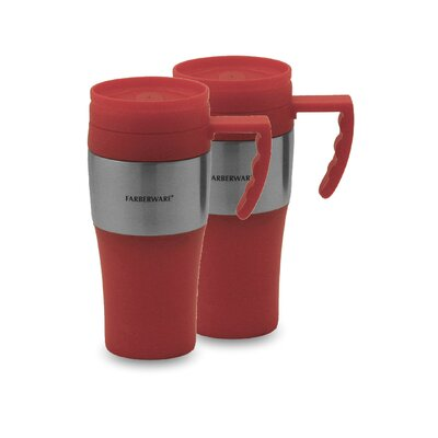 Travel Mug in Red with Stainless Steel Accents (Set of 2)