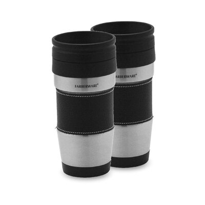 Farberware Stainless Steel Travel Mug without Handle in Black (Set of 2)