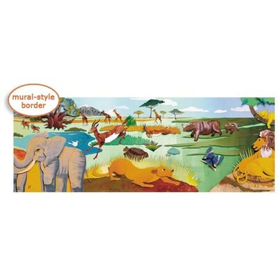 4 Walls Panoramic Safari Mural Style Border in Multi