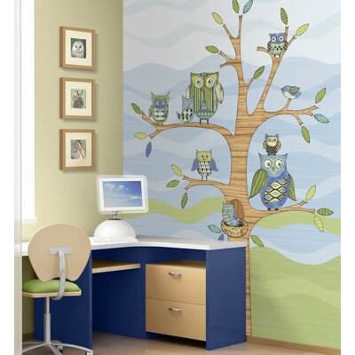 4 Walls Owl Mural in Blue