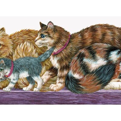 4 Walls Whimsical Children's Vol. 1 Cat Die-Cut Border in Purple