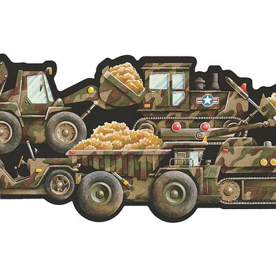 Whimsical Children's Vol. 1 Camouflage Truck Border in Black