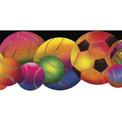 4 Walls Whimsical Children's Vol. 1 Neon Sports Balls Die-Cut Border in Black