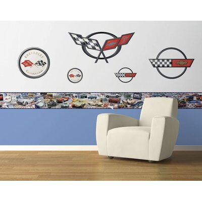 4 Walls History of the Corvette Free Style Border Wallpaper in Multi