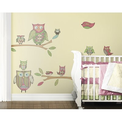 4 Walls Owls Freestyle Peel and Stick Decal in Pink