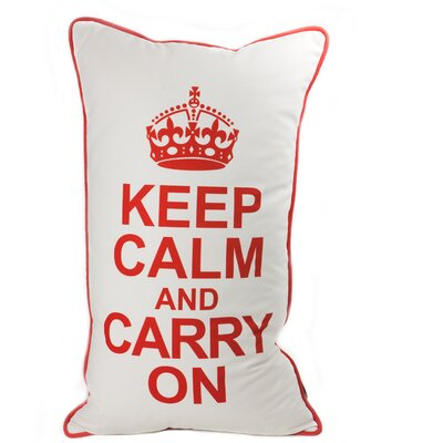 lava Keep Calm Pillow in Red on White