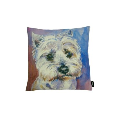 lava Westie Watercolor Feather Filled Pillow