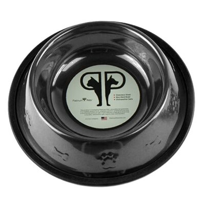 Platinum Pets Embossed Dog Bowl in Black Chrome