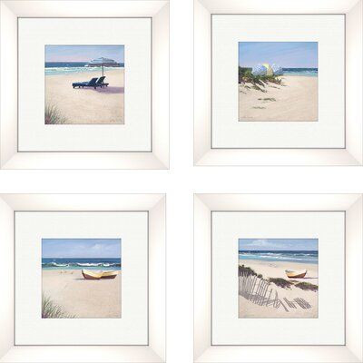 Pro Tour Memorabilia Coastal Beach Umbrella Framed Art (Set of 4)