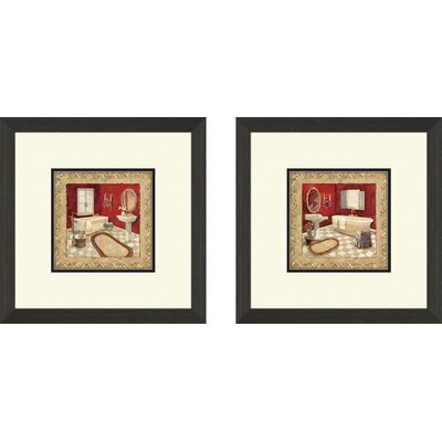 Pro Tour Memorabilia Bath Salon Rouge Framed Art (Set of 2)