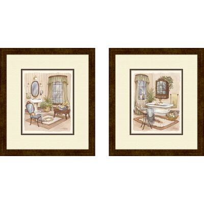 Pro Tour Memorabilia Bath Sage Bath Framed Art (Set of 2)