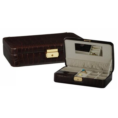 Brown Croc Leather Travel Jewelry Box